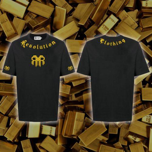11. Basic Revolution Double Logo Bronze Gold ( Nhũ Vàng ) Black T-shirt